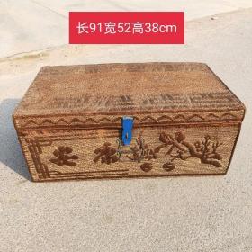 民俗老物件:鬃编箱子  带字和花鸟  品相尺寸如图包老