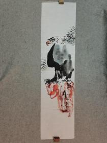无款国画鹰 四尺单条 原稿手绘 画心软片