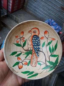 釉上花鸟瓷盘,年代未知,保真瓷不包年代。