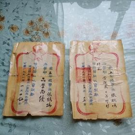 1951年浙江省镇海县私立养正小学奖状2张合售