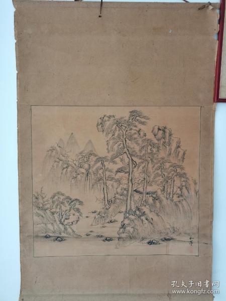 【山水人物画】泷和亭(1830-1901)整幅尺寸:长115cm*宽76cm;画心尺寸:长60cm*宽66cm。晚清时期作品。