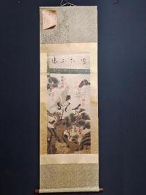 三尺中堂纯手绘 花鸟  材质:宣纸 装裱尺寸:187×58cm 画心尺寸:80×43cm