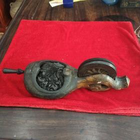 清代鲁班子孙用的木制墨斗一枚,木匠画线工具,奇香扑鼻,不知是墨香还是木头香