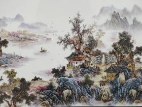 红木框烟雨江南, 瓷板画,手工绘画,线条纤细流畅,清晰透彻,富有神采,品相完整!