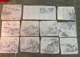 民国临摹手绘名家画十一张,包老,单张尺寸30×25厘米。