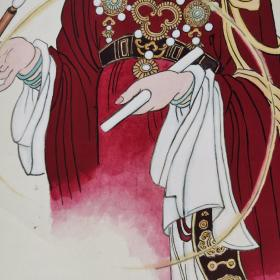 【保真】小峨画永乐宫壁画《水星》神像,重庆已故书画大家周北溪先生题字。《水星》面目端庄秀美,神情文雅清纯,有一种超凡脱俗而又十分清净的天人之美,是永乐宫壁画中十分精彩的部分。小峨创作,周北溪先生欣然题字。1988年创作,手裱立轴,原装老裱,画心尺寸:97×53cm。