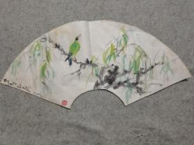 成都名家 国画扇面花鸟 原稿手绘真迹 画心软片