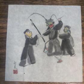 关良京剧人物(尺寸22*23CM)