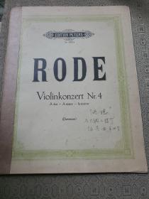 老外文原版乐谱   RODE 路德 A大调小提琴协奏曲第4号
