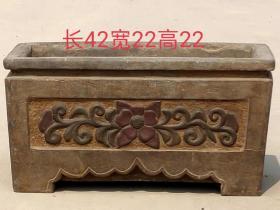 青石描彩小石盆 造型周正,品相完好,古朴典雅,尺寸见图......