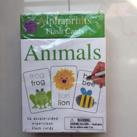 英文原版 Alphaprints Wipe Clean Flash Cards Animals 儿童动物词汇书写指纹活动卡片 盒装26张赠擦写笔