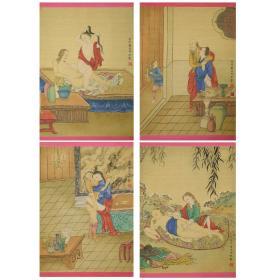 冷枚款《宫图四条屏(绢本)》,约民国旧物。 尺寸:31*23*4CM