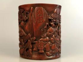 清代晚期、紫竹雕 八仙图笔筒,高浮雕,全品完整,包浆淳厚,品相尺寸如图!