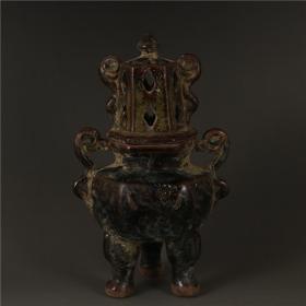 青瓷茶叶末釉三足香炉