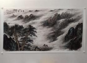 保真书画,中山大学南方艺术中心副主任,副研究员,张才贵六尺整纸山水画《云海松涛》一幅95×178.5cm,纸本托片。