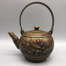 铜年年有余茶壶 摆件,品相尺寸如图