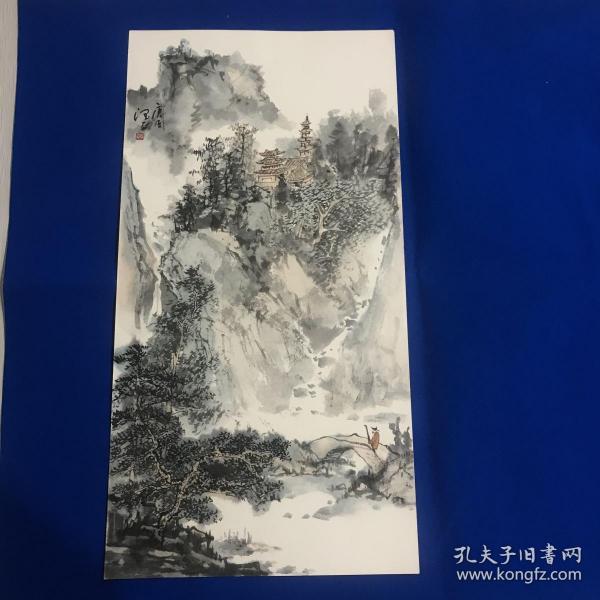 中美协山东分会会员 实力画家 润正 精品山水画 尺幅65*23cm 卡宣 取自画家本人 保真 品如图