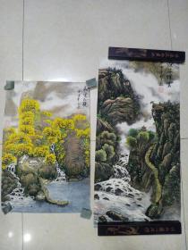 手绘画  2张合售 66 x 33 和 50 x 34