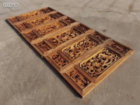 民国时期纯手工雕刻花鸟花板一套,雕工精细,尺寸如图