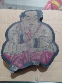 库,晚清手绘年画人物抱鱼吉祥图,纸盒盖,后贴老墙纸,边贴有剪纸花边,28*25cm