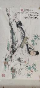 海派著名画家【颜梅华】精品人物画《羲之爱鹅》一幅,尺寸已标注在图片上