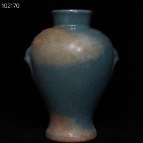 宋汝窑冰裂纹虎头瓶 古董收藏瓷器