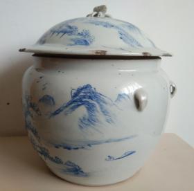 浩然斋集瓷之五十一:山水四系瓷罐
