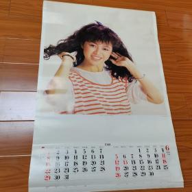 1988年挂历。两张港星单张,唐丽球,刘嘉玲。