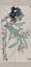 海派著名画家【韩敏】精品花鸟画《水仙 石头》一幅,尺寸已标注在图片上