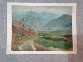 无签名老旧油画风景 原稿真迹 著名老画家 西安美院高材生作品