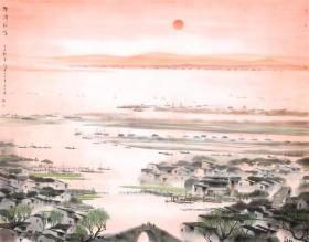 杨明义 扬城朝晖图。整图最大可做150*191.58厘米(原始尺寸192*245.22厘米)。宣纸艺术微喷复制。