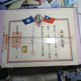 民国时期毕业证书原件:云南基督教青年会补习学校毕业证书一份(1946年) 【品好如图】