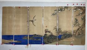 民国时期  佚名  通景屏 花鸟 尺寸  280/129   老托片