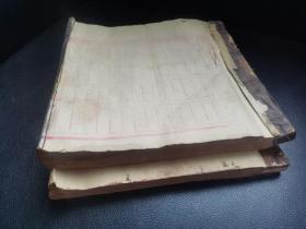 江西收清末民国年账本2厚册大开本,书法精妙,商号应为杂货业或典当业,民间经济社会略可管窥。留有部分空白页。