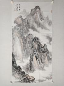 保真书画,黄宾虹画院副院长,马越强四尺整纸山水画《苍山烟翠》一幅137×69cm。