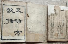 光绪湖南益元书局板大开本长沙方歌括,卷一到卷六两本一套全,