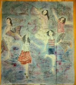 现代派美院创作,放风筝,画的很好,名家创作作者不详