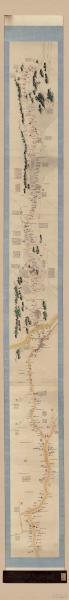 古地图1877-1886 山东运河全图 卷本 光绪三年。纸本大小39*339.28厘米。宣纸艺术微喷复制。