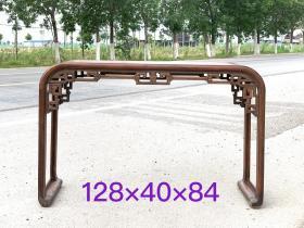 弯腿下卷小书桌,花梨木制, 雕刻双龙戏珠 做工精细 品相完好