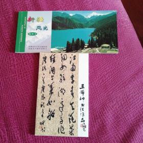 王希坤书法作品+新疆风光明信片两套