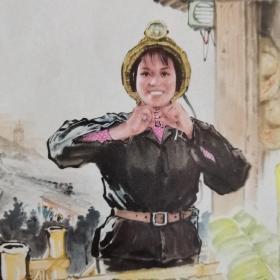 文革32开老画片:中国画《矿山新兵》,杨之光创作。