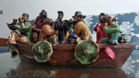 低价出售回流石湾窑精品老货《八仙过海》,大师级水平人物造型,表情各异,栩栩如生,识者宝之