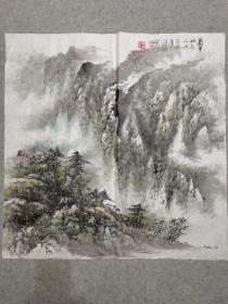 杨老 国画蜀中山水四尺斗方画心软片 手绘原稿真迹