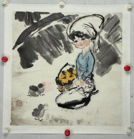 姚有多  尺寸  50/50  托片  1937---2001,浙江宁波人,擅长中国画。自幼喜爱绘画并表现了突出的才能,年轻时即投身于连环画创作,成为专业画家。早年从事连环画创作,1952年任上海人民美术出版社创作员。 1956年考入中央美术学院中国画系,受教于蒋兆和、叶浅予、李可染、李苦禅诸大师。1959年毕业于中央美术学院国画系,留校任教。 历任中央美术学院中国画系教授、院学术委员