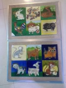 十二生肖瓷板画,很重,年代八九十年代,包真包老。有两个有修,介意者勿拍。不包邮,运费到付。