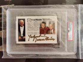 著名小提琴大师 耶胡迪·梅纽因 Yehudi Menuhin 亲笔签名照 夫妇合影 PSA鉴定封装