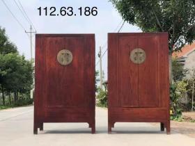 清代,精品楸木大柜一对,铜件齐全,木纹清晰,全品结实,尺寸112.63.186