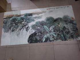 广东汕头籍著名画家----廖宗怡【国画精品】一幅----保真-- 136 × 68cm