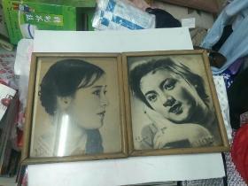 老素描画,碳素画(希圣画于1969年),2幅合售