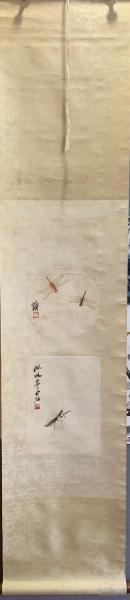 旧藏,齐白石:精品小虫(双挖) 立轴,画芯尺寸直径23cm 下画芯尺寸:23x32cm